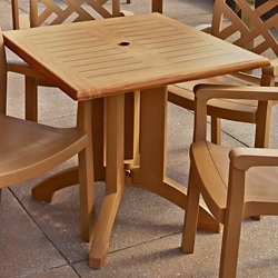 """Faux Teak Outdoor Square Table - 32""""W, 46219"""