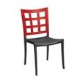 Two Tone Stacking Chair with Window Pane Back, 51570