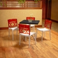 "Square Table with Metal Base and Four Chairs - 30""W , 46169"