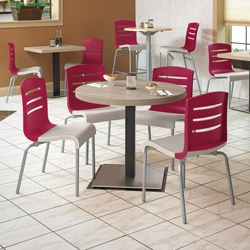 "Round Table with Square Base Breakroom Set - 30""DIA, 46167"