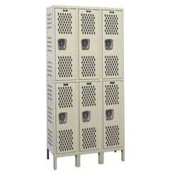 "Assembled 45""W x 15""D Two Tier Ventilated Locker, 36116"