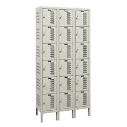 """Assembled 36""""W x 12""""D Six Tier Ventilated Locker, 36121"""
