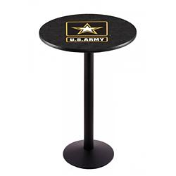 "Military Logo Disc Base Table - 28""DIA x 42""H, 44691"