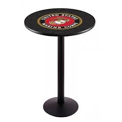 "Military Logo Disc Base Table - 36""DIA x 42""H, 44693"