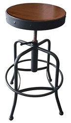 Adjustable Counter to Bar Height Industrial Stool with Black Frame, 51710