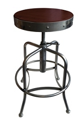 Adjustable Counter to Bar Height Industrial Stool with Clear Coat Frame, 51711