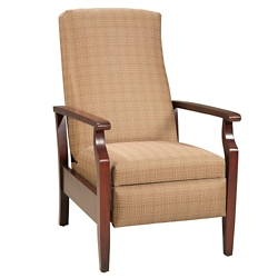 Fabric Recliner with Wood Arms, 76346