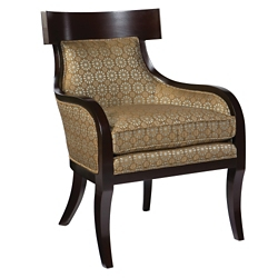 Fabric T-Back Accent Chair with Wood Backrest, 76349