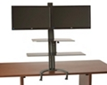 Sit Stand Dual Monitor Workstation with Large Keyboard Tray, 60014