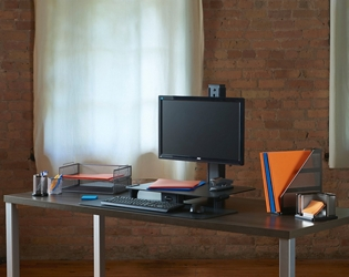 Rear-Mounted Single Monitor Sit Stand Workstation, 60018