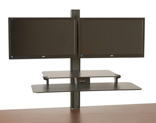 Rear-Mounted Dual Monitor Sit Stand Workstation, 60020