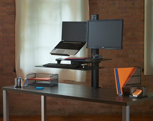 Rear-Mounted Laptop and Monitor Sit Stand Workstation, 60073