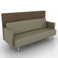 Modern Vinyl Lounge Sofa with Fabric Back Panel, 76069