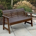 "Outdoor Horizontal Slat Synthetic Wood Bench 48""W, 85855"