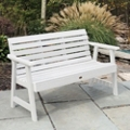 "Outdoor Horizontal Slat Synthetic Wood Bench 60""W, 85637"