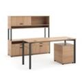 Modern Computer Desk and Credenza Set, 13822