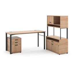 Modern Computer Desk with File and Raised Hutch Set, 13823