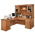 "Wheat Oak L-Desk with Left Return and Hutch - 69""W, 10166"