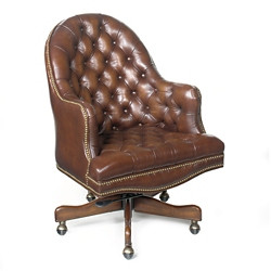 Button Tufted Desk Chair in Leather, 55088