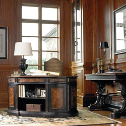 "Traditional Executive Desk with Bookcase Back and Leather Inlay Top - 60""W, 13170"