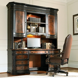 """Traditional Computer Credenza and Hutch Set - 74""""W x 24""""D, 13686"""