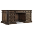 "Rustic Executive Desk with Leather Inlay Top - 73.75""W x 40""D, 13681"
