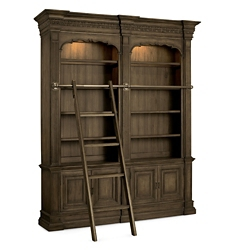 "104.25""H Rustic Double Bookcase with Ladder and Rail, 32022"