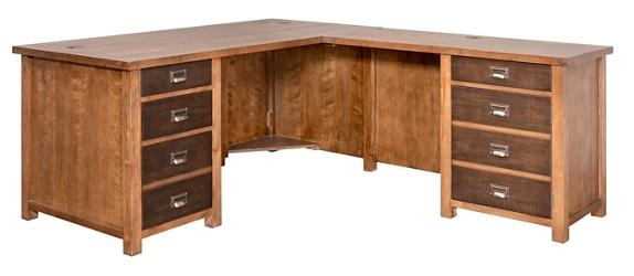 "Double Pedestal L-Desk - 65""W, 14997"