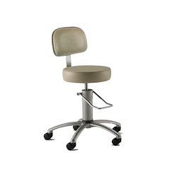 Polished Aluminum Base Surgical Stool with Rotation Lock and Backrest, 26169