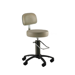 Black Aluminum Base Surgical Stool with Rotation Lock and Backrest, 26171