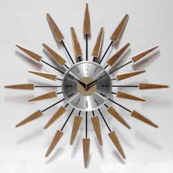 "Mid Century 22"" Wood and Metal Wall Clock, 82361"