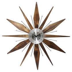 "Mid Century 30"" Wood and Metal Wall Clock, 82362"