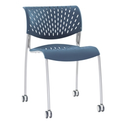 Modern Armless Plastic Stack Chair with Casters, 50879