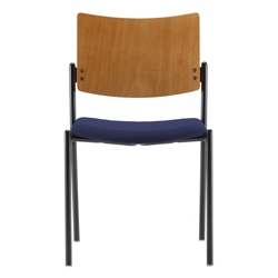 Armless Fabric Stack Chair with Wood Back, 52378