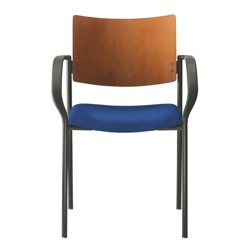 Fabric Stack Chair with Wood Back, 52379