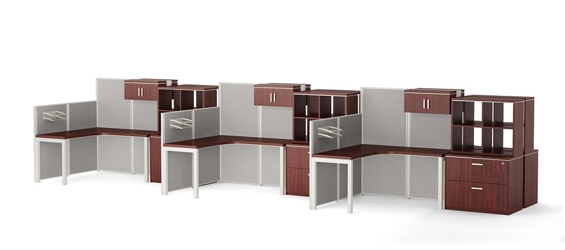 Reveal Six Paneled Corner Desk Workstations with Cubby Storage, 14958