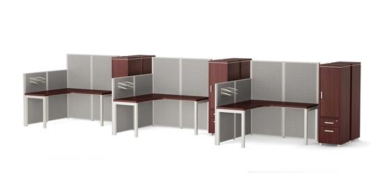 Reveal Six Paneled Corner Desk Workstations, 14959
