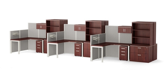 Reveal Six Paneled Corner Desk Workstations with Bookcase & File Storage, 14954