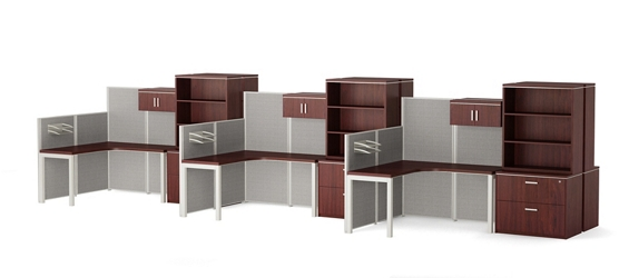 Reveal Six Corner Desk Workstations with Panels and Storage, 14956