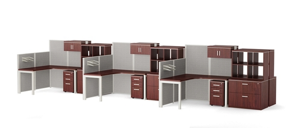 Reveal Six Paneled Corner Desk Workstations with Storage and Filing, 14957
