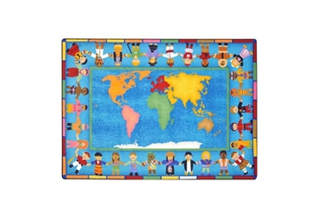 "Hands Around the World Rectangle Rug 5'5""W x 7'7""D, 86345"