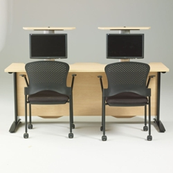 "60"" Wide Desk with Dual Monitor Lifts, 60954"