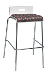 Bar Height Low Back Stool with Fabric Seat , 76890
