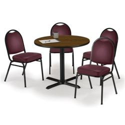 "36"" Breakroom Table and Vinyl Chair Set, 44394"