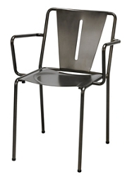 Metal Arm Chair with Contoured Seat and Back, 51797