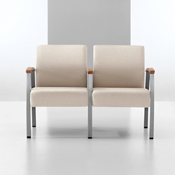 Vinyl Two Seat Chair with Wood Arm Caps and Center Arm, 26223