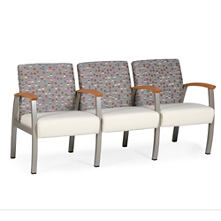 Vinyl Three Seat Chair with Wood Arm Caps and Center Arms, 26225