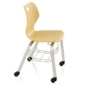 "Four Leg Student Chair with Casters and Book Rack - 18""H Seat, 57090"