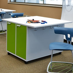 """Mobile Worktable with Dual-Sided Locking Storage - 54""""W x 36""""H, 46887"""