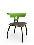 Triangular Four Legged Chair with Padded Seat and Glides, 57288